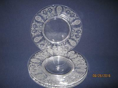 """Four {4} Tiffin-Franciscan June Night 8 1/8"""" Salad/luncheon Plates [Nice]"""