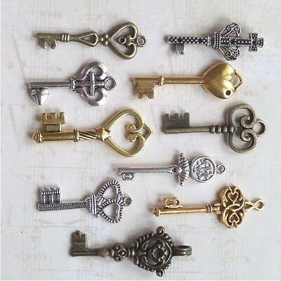 new old look antique keys 200 victorian charm skeleton gold silver bronz wedding