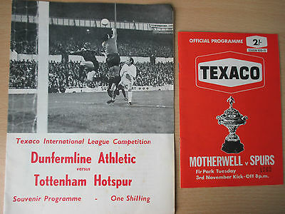 All four Tottenham 1970 Texaco Cup h & a progs v Dunfermline & Motherwell vgc