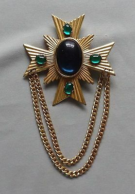 Vintage Lucite Green & Navy Blue Cabochon Maltese Cross Pin