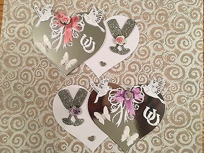 2 Wedding  / Anniversary Heart Card Toppers