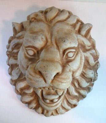 Vintage LION FACE GARDEN ORNAMENT PLAQUE Ferocious Look Hanging Cast Cement 10""