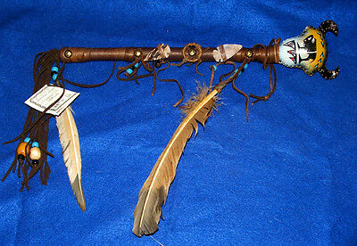 "Rawhide Black Buffalo Rattle Authentic Native American 15"" Navajo Artifact #16"