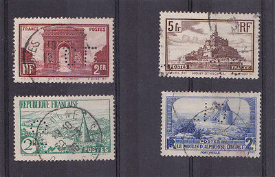 Lot 4 Timbres Perfin Perfores Cl Credit Lyonnais