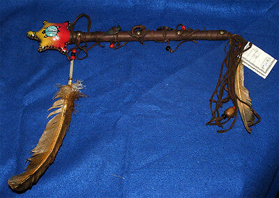 """Turtle Rawhide Rattle Authentic Native American 15"""" L Navajo Artifact #24"""