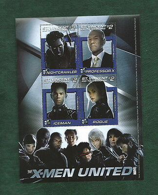 St Vincent and the Grenadines X-MEN UNITED Minisheet MNH