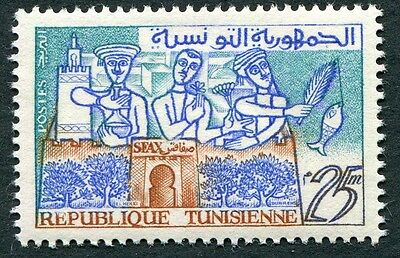TUNISIA 1959 25m blue, brown and turquoise SG492 mint MH FG #W1