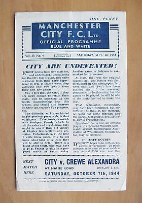 MANCHESTER CITY v STOCKPORT COUNTY 1944/1945 *VG Condition Football Programme*