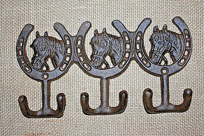 "(2),TRIPLE WESTERN HOOKS,horseshoes,horses,wall hooks,""antique look"",ranch, W-30"