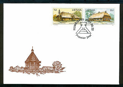 LITHUANIA 2001 stamps Open Air Museum 35th Anniversary on FDC Architecture
