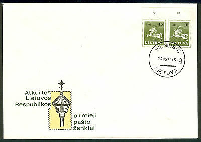 LITHUANIA 1991 stamp 15 k Definitive (Imperf) Pair on FDC