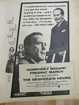 The Desperate Hours, Humphrey Bogart, Full Page Vintage Promotional Ad