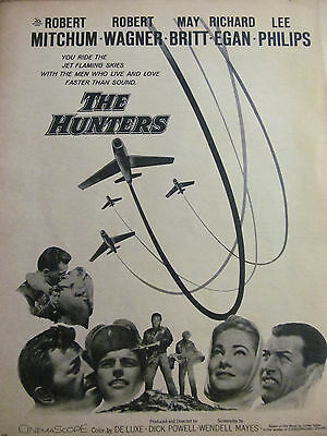 The Hunters, Robert Mitchum, Robert Wagner, Full Page Vintage Promotional Ad