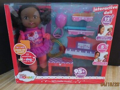 New Little Mommy Let's Make Music Interactive Doll African American talks sings