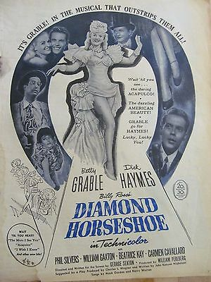 Diamond Horseshoe, Betty Grable, Full Page Vintage Promotional Ad