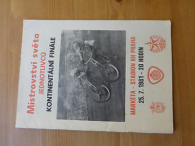 Continental Final  Speedway Programme Prague 25/7/1981