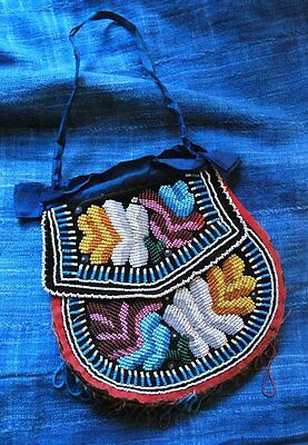 Antique Penobscot Woodland Native American Beaded Pouch