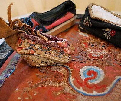 Antique Chinese Shoes Including Lotus Shoe Lot Of Three Single Shoes