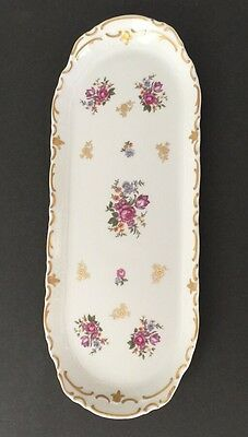 """Reichenbach GDR Relish Tray  Fine China Made In Germany 15"""" x 6"""""""