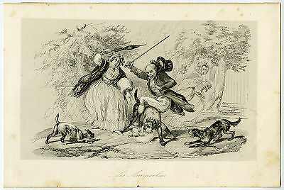 Antique Print-DOGS-COUNTRY LIFE-Adam-1845