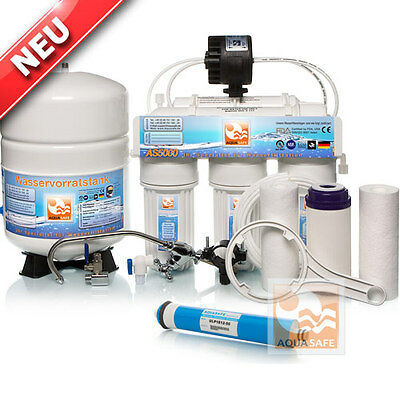AQUASAFE AS5000 5-Stufige Umkehr-Osmose Wasserfilter-Anlage + Permeat OSMOSIS