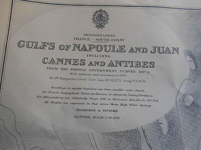 large map of gulfs of napoule and juan (france south coast)
