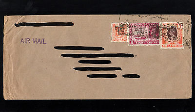 Burma 1946 Kg Vi Stamps With Overprints On Cover With Square Postmarks