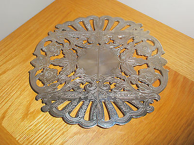 Vintage Ornate Trivet Silver Plated On Copper Expandable With 4 Protected Feet