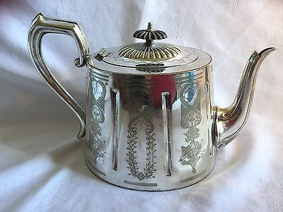 Antique Sheffield Silver Plated Victorian Tea Pot Teapot Chased Design c1880