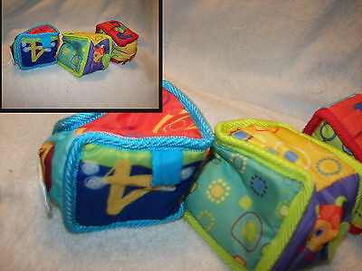 Cloth Block Mix Match Sort Stack Toys Baby Kid Child Toy Rattle Crinkle 3 block