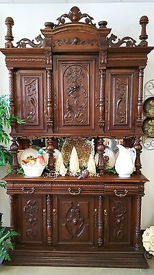 Antique French Renaissance Revival 1800's Sideboard - Carved Walnut