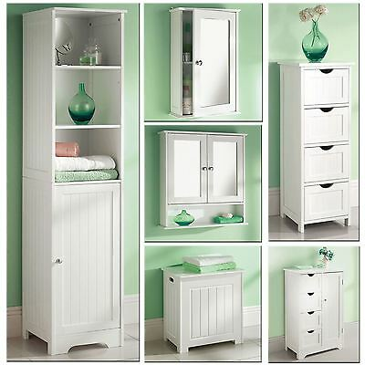 White Wooden Bathroom Cabinet Shelf Cupboard Bedroom Storage Unit Free Standing