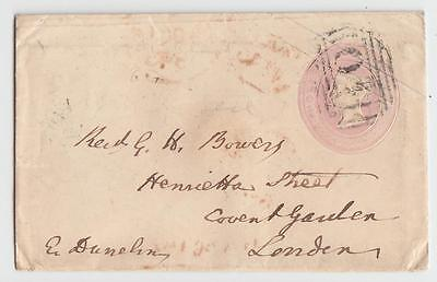 GB 1845 1d ENVELOPE A  BISHOP AUCKLAND TO LONDON