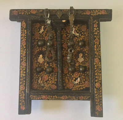Antique 17th 18th Century Islamic Persian Hand Painted Alter Doors