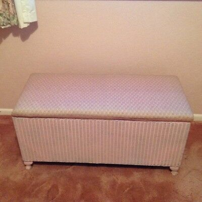 Lloyd Loom Vintage Retro Pink Resprayed And Covered Ottoman Good Condition