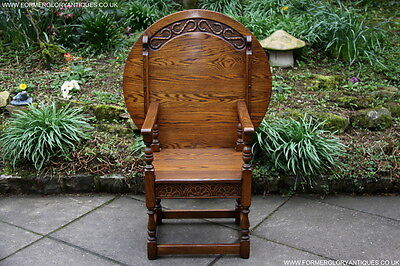Old Charm Light Oak Monks Seat Bench Settle Armchair Hall Lamp Phone Table Stand
