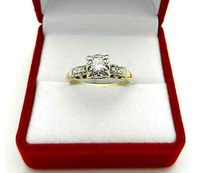 Vintage Art Deco 14k Yellow Gold Old Cut Diamond Engagement Ring size 6.5