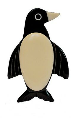 Exquisite Black And White Resin Penguin Brooch Pin