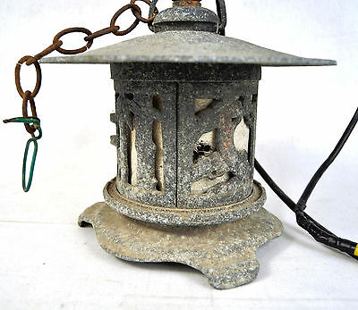 Asian Stone Look Coated Steel Hanging Electric Lantern with Light