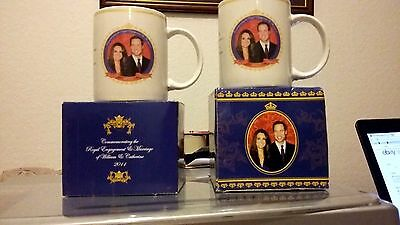 Pair of Boxed Mugs. Royal Engagement & Marriage of William & Catherine, 2011
