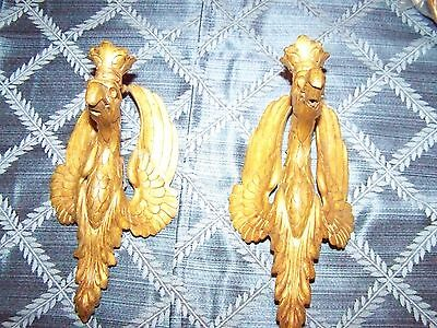 Pair of Antique Gilded Bronze Wall Phoenix Birds that hang on the wall - Amazing