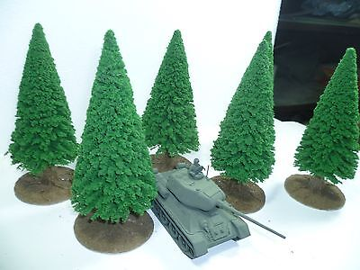 6 very tall model Conifer trees for 25mm, 28mm wargames and Warhammer
