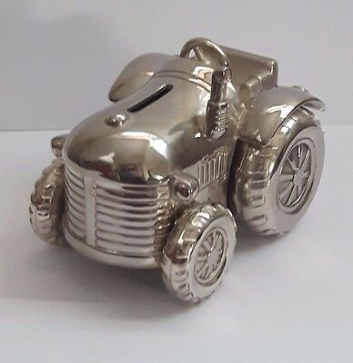 Vintage Silver Plated (?) Tractor Money Box - Moving Parts