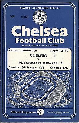 Chelsea Reserves v Plymouth Argyle Reserves 1957/58 - 4 Page