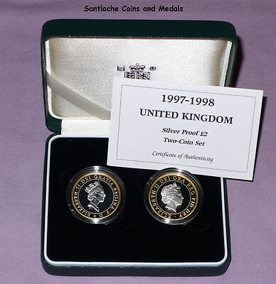 1997 & 1998 Royal Mint Silver Proof £2 Two Coin Effigy Set In Case