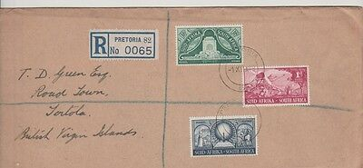 South Africa 1949, Reg. cover to British Virgin Islands.