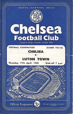 Chelsea Reserves v Luton Town Reserves 1957/58 - 4 Page