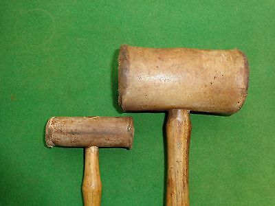 two vintage small and  large thor leather mallets