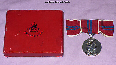 1953 OFFICIAL QUEEN ELIZABETH II CORONATION MEDAL BOXED - Ladies Ribbon