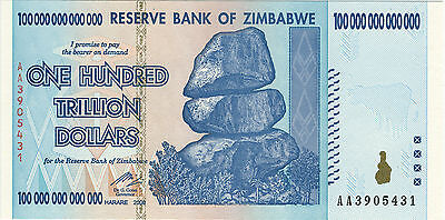 ZIMBABWE 100 Trillion Dollars Banknote Money Currency  Note Bill- Circulated
